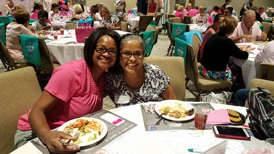 Hycinth Scott and Evelyn Ramnath attend the Making Strides Against Breast Cancer of Indian River County kickoff rally and informational meeting Aug.28 at the Christ Church9.23 Community Center.