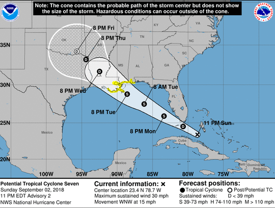 Potential Tropical Storm Gordon