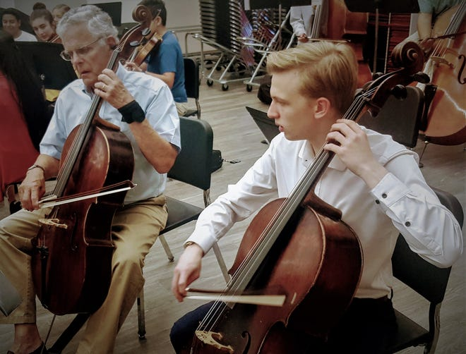 Cellists Joel Gratwick, left, and Leif Clark focus during rehearsal.