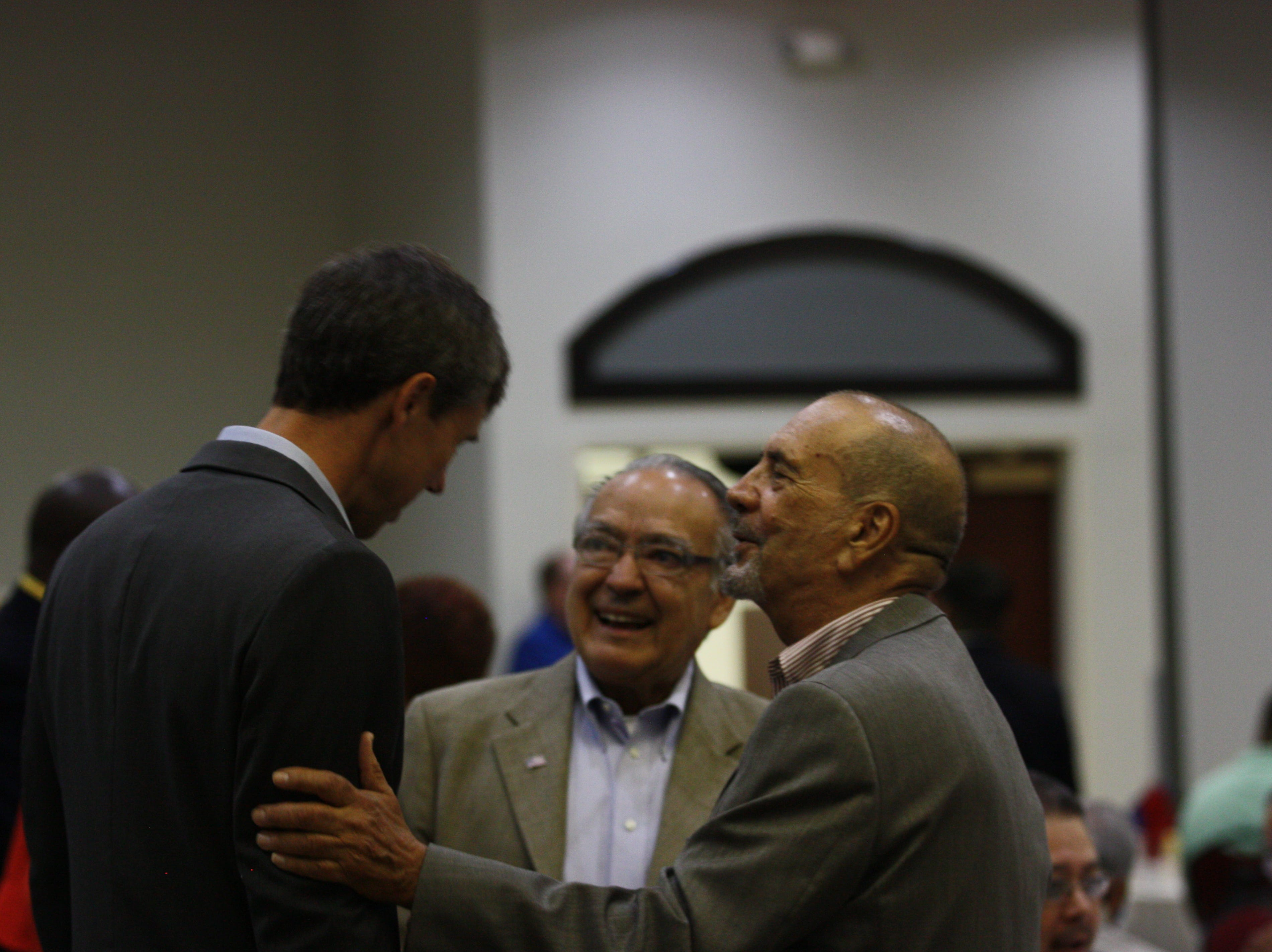 U.S. Rep. Beto O'Rourke chats with attendees at the 44th annual Labor Day Breakfast on Monday in Central El Paso.