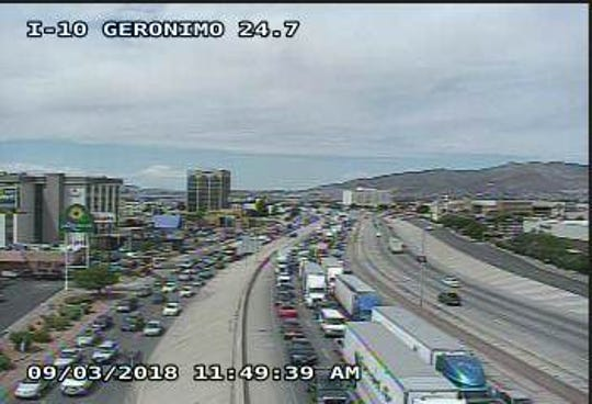 A Texas Department of Transportation freeway camera shows major eastbound traffic buildup due to a serious motorcycle crash at the Hawkins Boulevard exit Monday in Central El Paso.