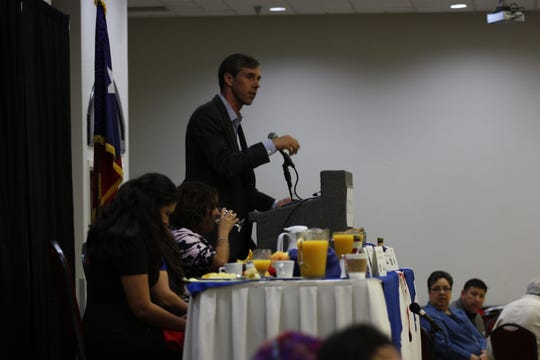U.S. Rep. Beto O'Rourke addresses the audience at the 44th annual Labor Day Breakfast on Monday in Central El Paso.