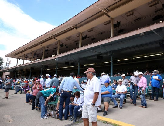 The crowd waits for the first race during the Labor Day 2018 competition featuring the All American Futurity at Ruidoso Downs Racetrack and Casino.