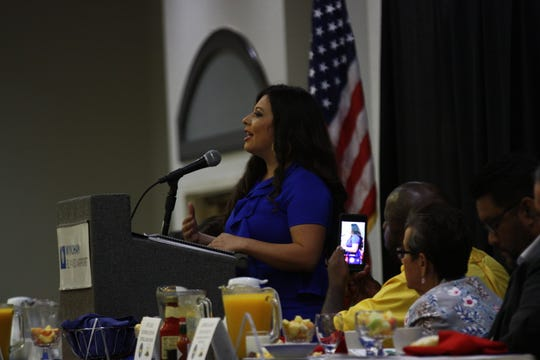 State Rep. Mary Gonzalez addresses the audience at the 44th annual Labor Day Breakfast on Monday in Central El Paso.