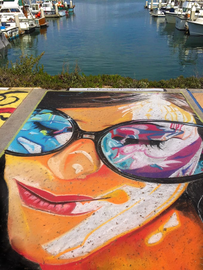 Gus Moran, who created this piece of chalk art for an earlier festival, is the featured artist at this year's Ventura Art & Street Painting Festival at Ventura Harbor Village.