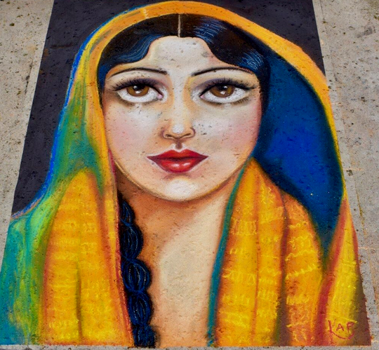 Chalk art like this piece by Krista Parada, featured at an earlier festival, will line the promenade at Ventura Harbor Village this weekend.