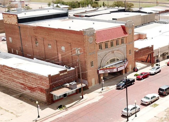 Aerial view of the Grand Theater Friday, Aug. 31, 2018, in Electra, TX. The theater is currently undergoing renovations.