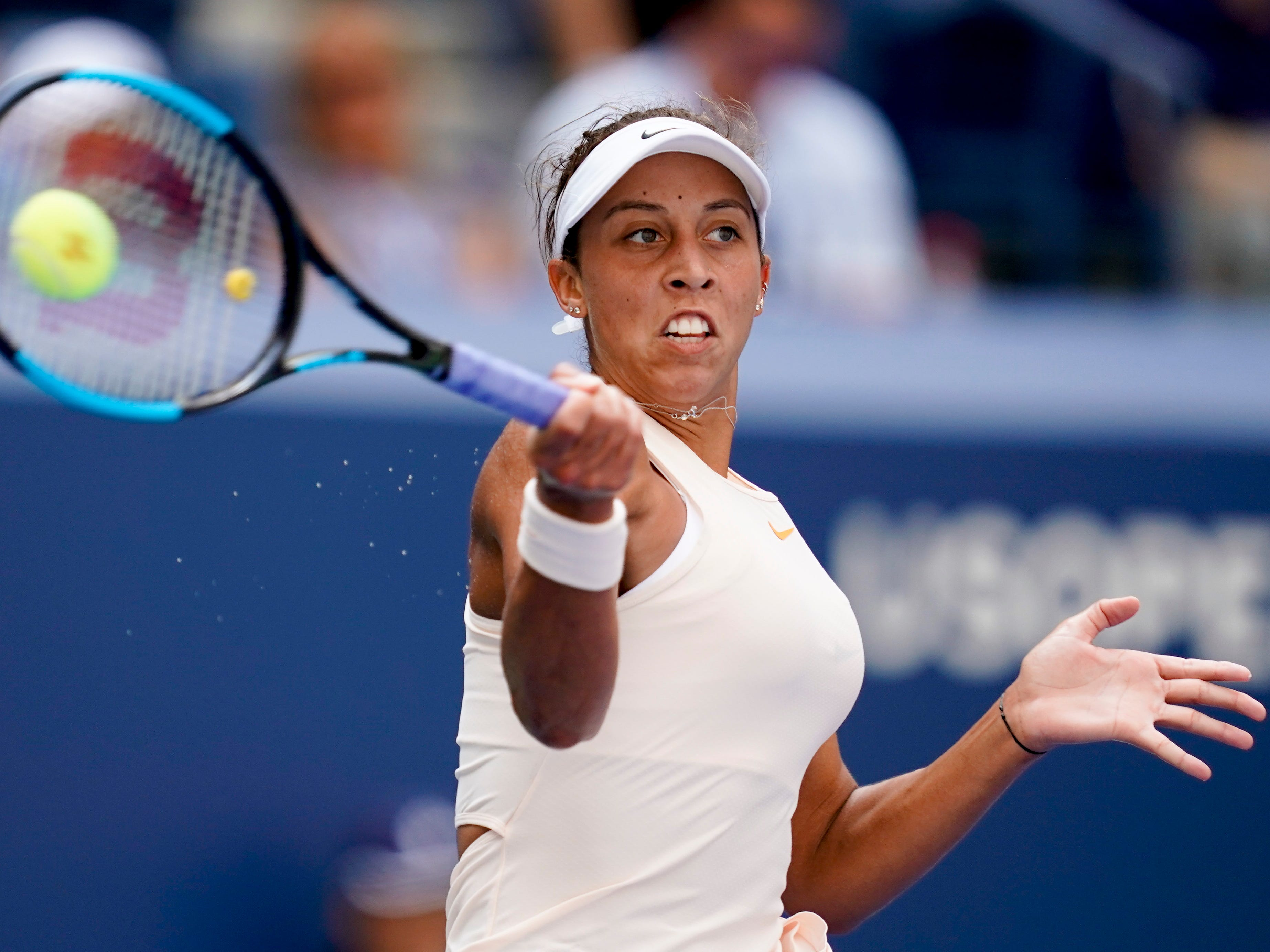 Madison Keys of the USA hits to Dominika Cibulkova of Slovakia in a fourth-round match on Day 8.