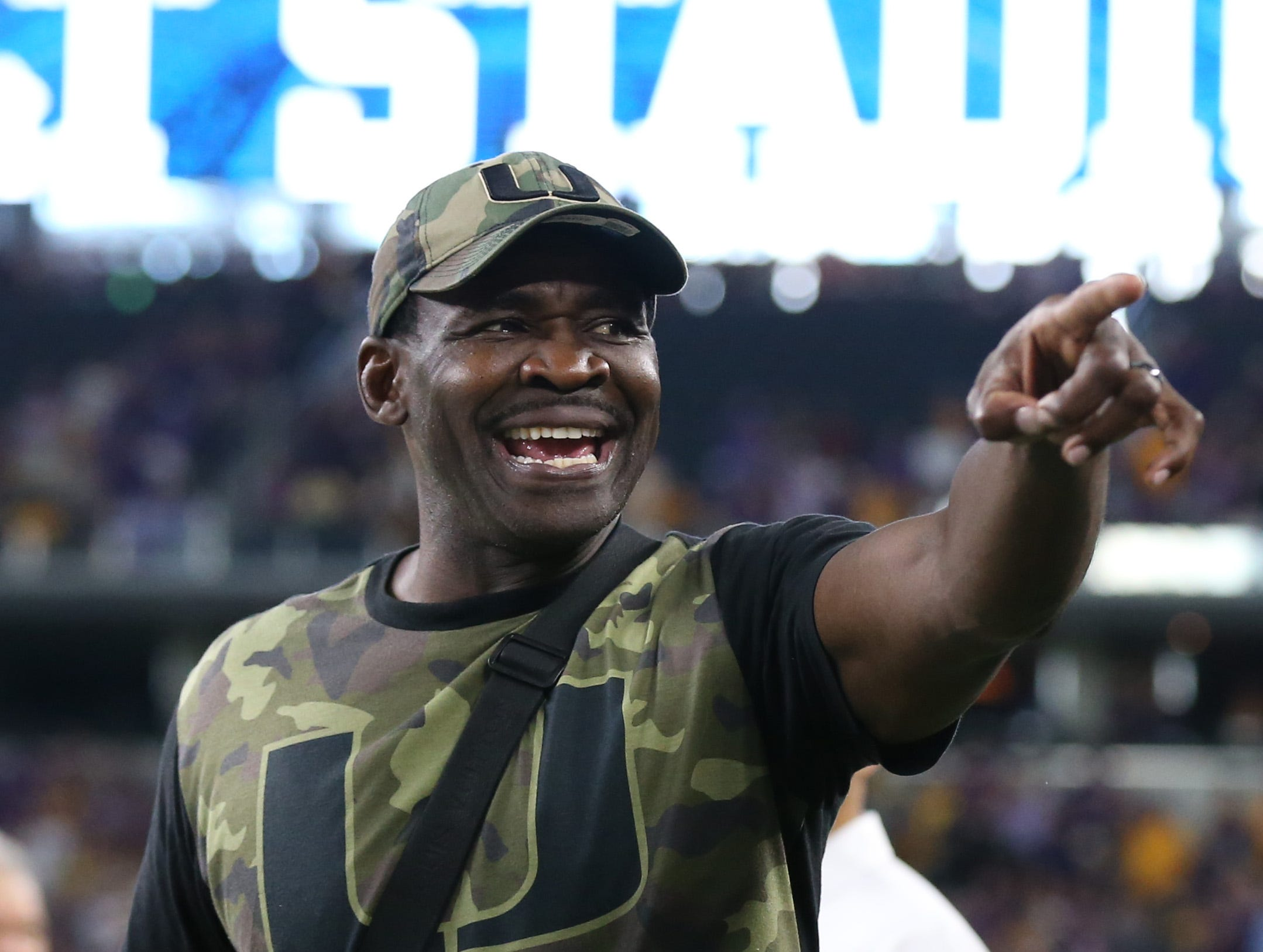 Week 1: Former Miami Hurricanes star Michael Irvin on the sidelines prior to the game against LSU Tigers at AT&T Stadium.