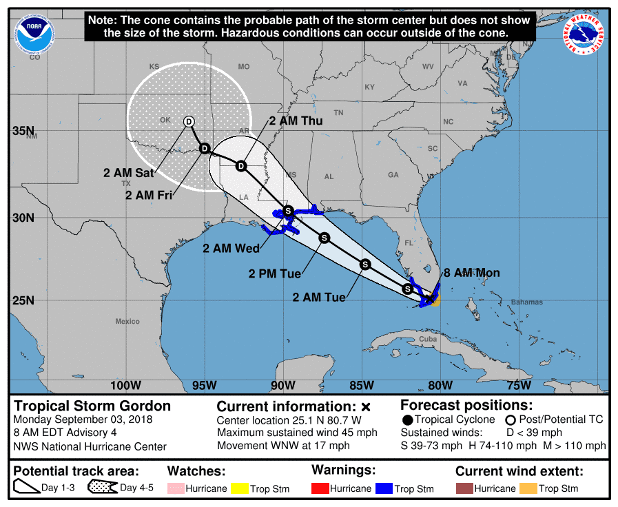 Tropical Storm Gordon aims for Gulf Coast, where hurricane watch has been posted