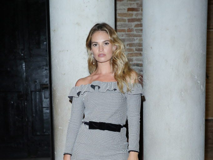 VENICE, ITALY - SEPTEMBER 02:  Lily James attends Miu Miu Women's Tales Dinner during Venice Film Festival  on September 2, 2018 in Venice, Italy.  (Photo by Vittorio Zunino Celotto/Getty Images) ORG XMIT: 775215808 ORIG FILE ID: 1026264128