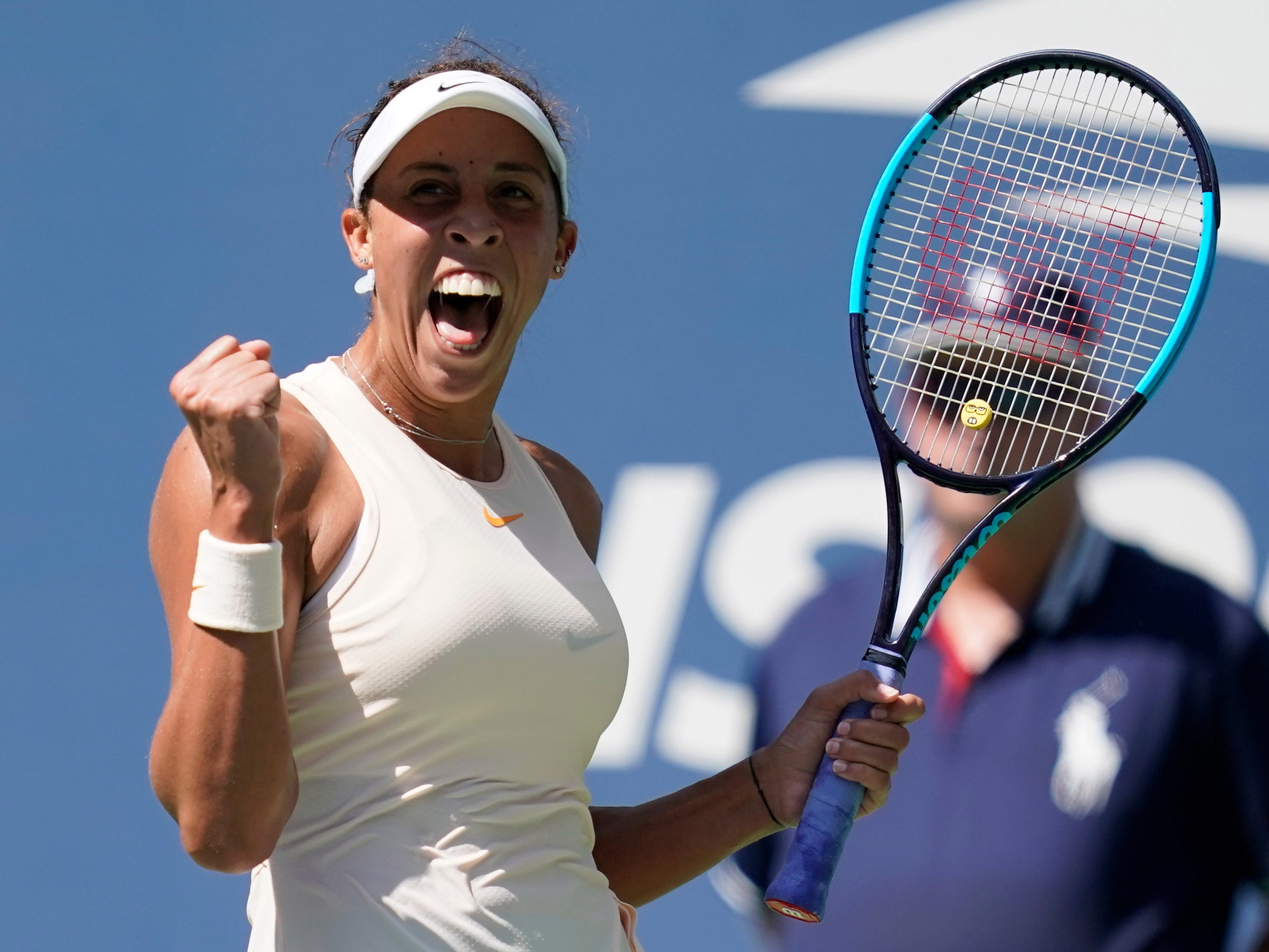 Madison Keys of the USA reacts after beating Dominika Cibulkova of Slovakia in a fourth-round match at the U.S. Open.