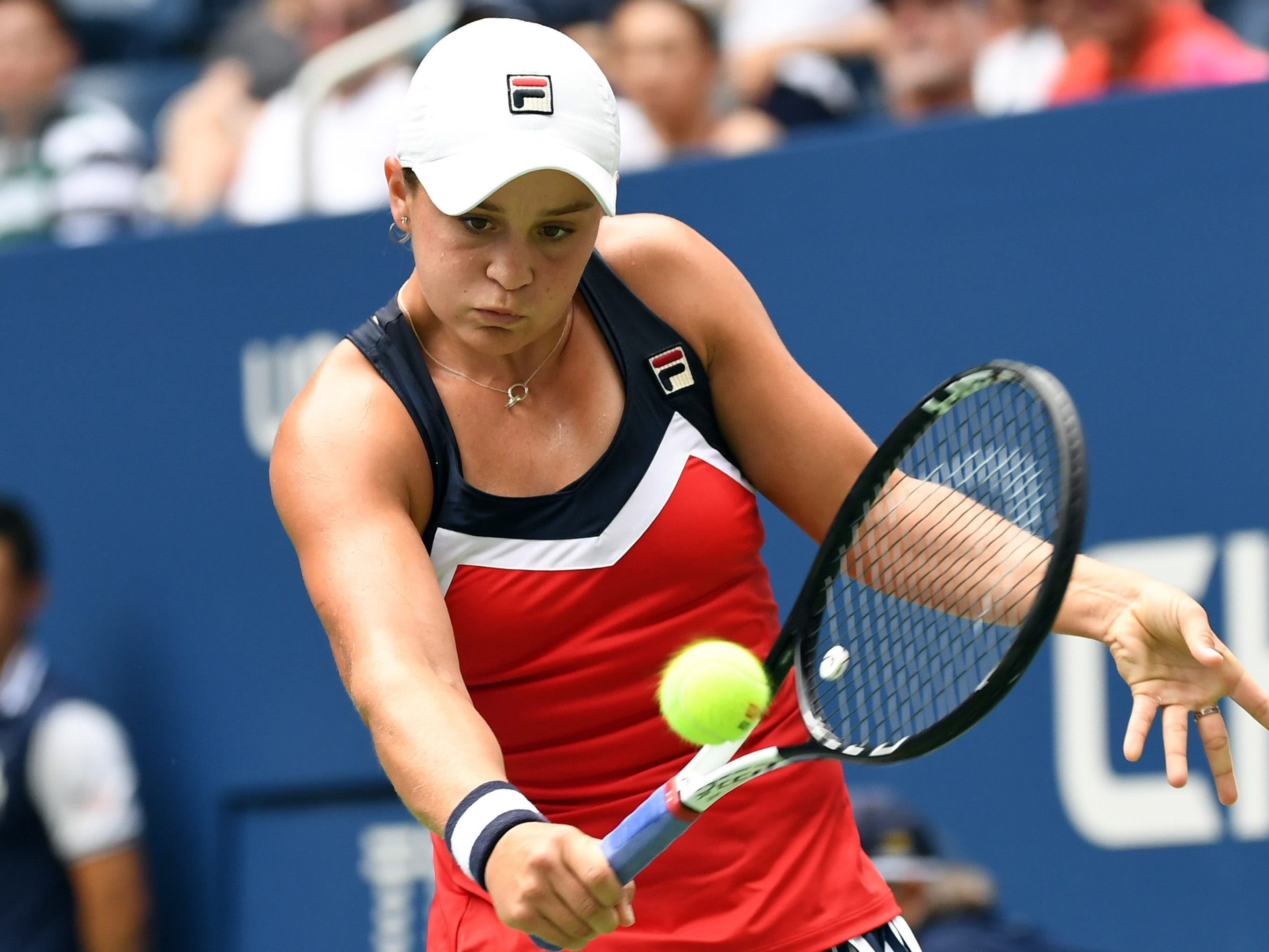 Ashleigh Barty plays a backhand return against Karolina Pliskova.