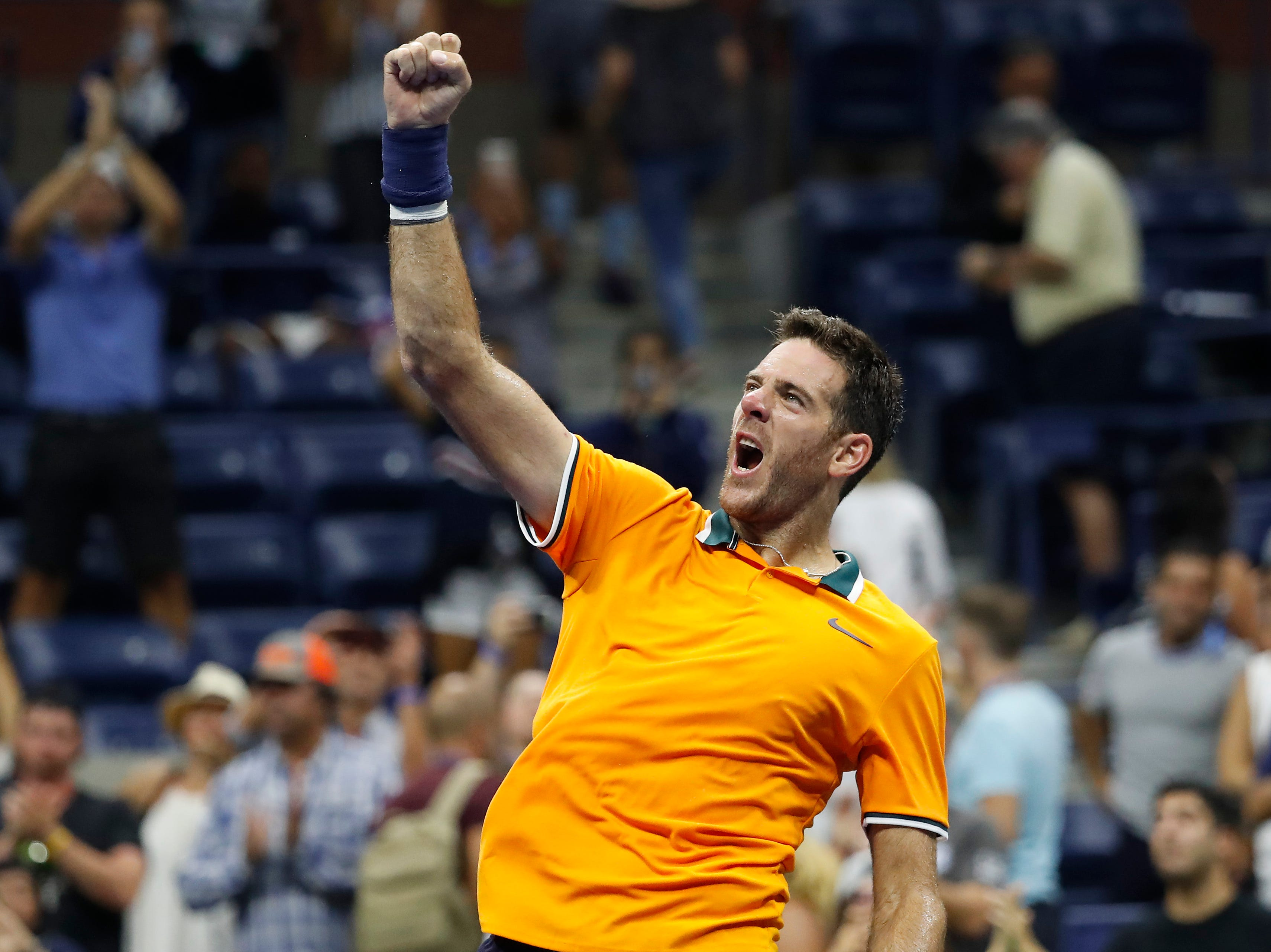 Juan Martin del Potro salutes the crowd after his fourth-round win against Borna Coric.