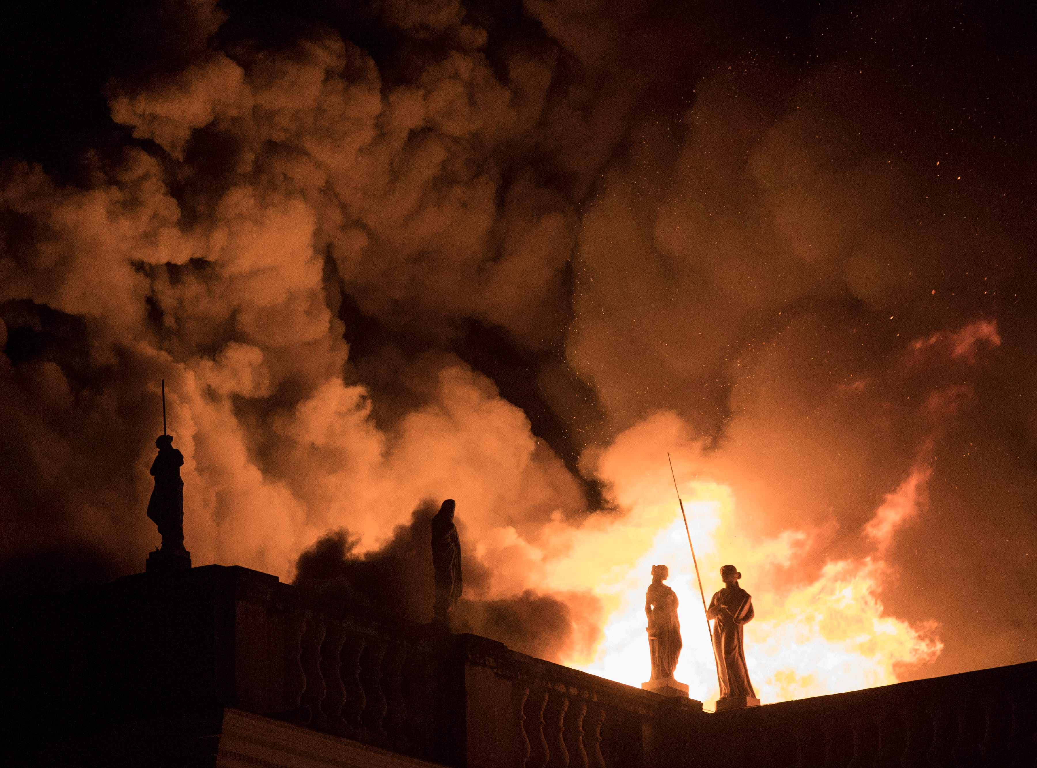 Flames engulf the 200-year-old National Museum of Brazil, in Rio de Janeiro, Sunday, Sept. 2, 2018. According to its website, the museum has thousands of items related to the history of Brazil and other countries. The museum is part of the Federal University of Rio de Janeiro.