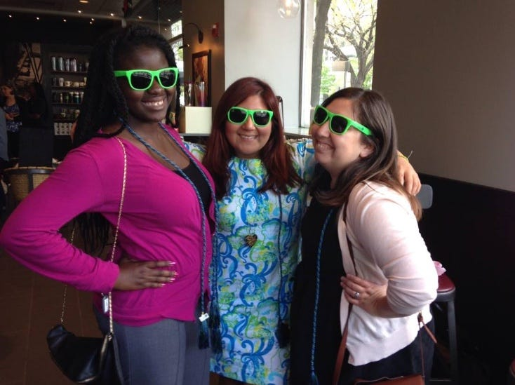 From L to R, Mabinty Quarshie, Ivonne Giovanna Ramirez and Christine Hernandez met in the workplace before quickly becoming friends and the #DreamTeam. In this 2014 photo the trio took a break from their weekly Starbucks trip to pose for the camera.