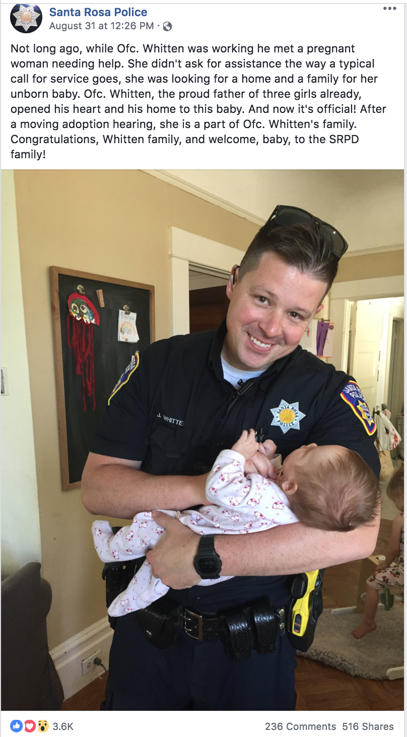 Santa Rosa Police officer adopts baby of homeless mom struggling with addiction