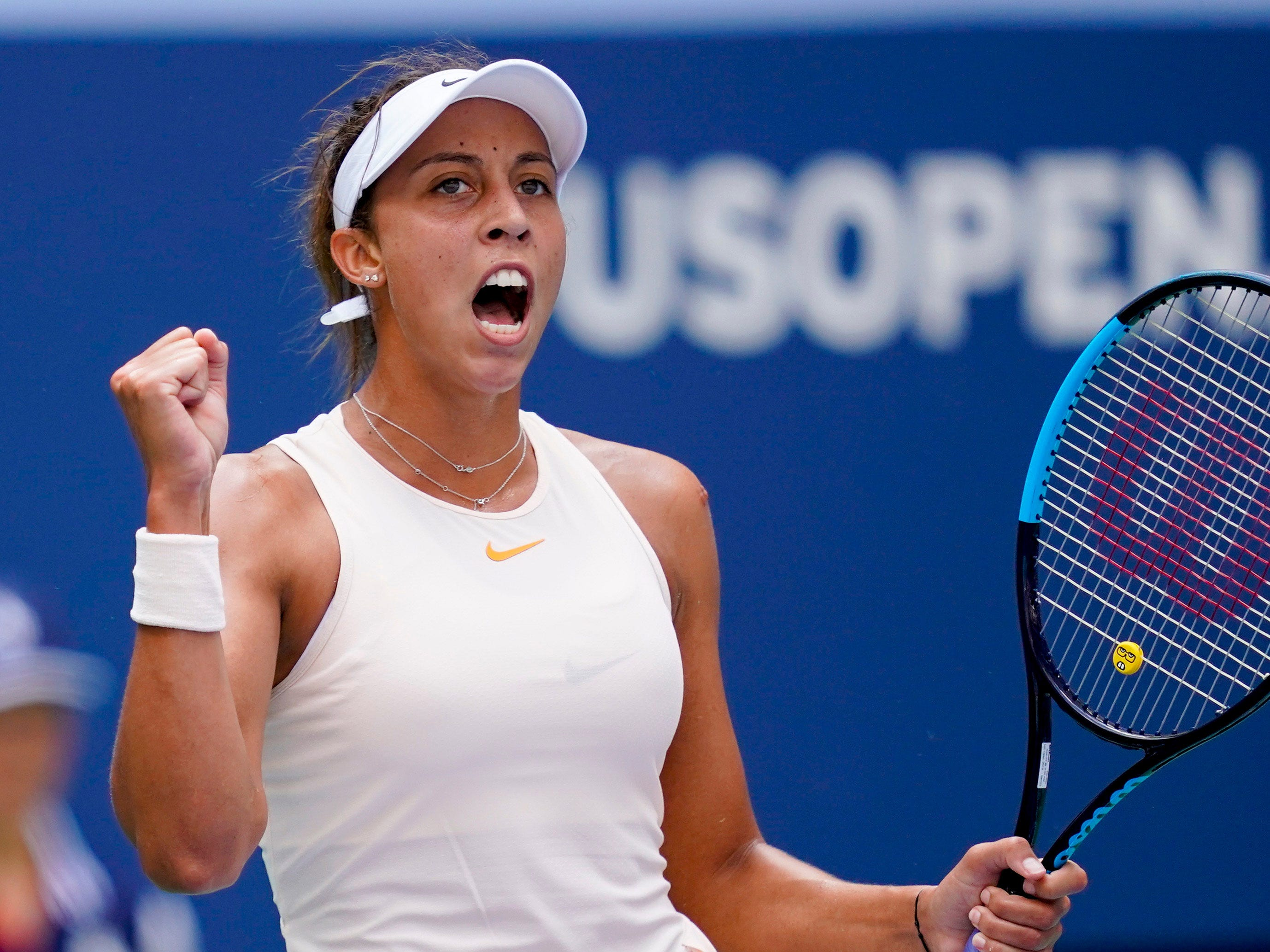 Madison Keys of the USA reacts after a service break against Dominika Cibulkova of Slovakia.