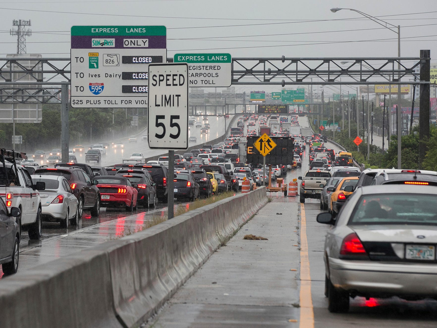 Traffic on I-95 northbound is bumper to bumper on Monday, Sept. 3, 2018.