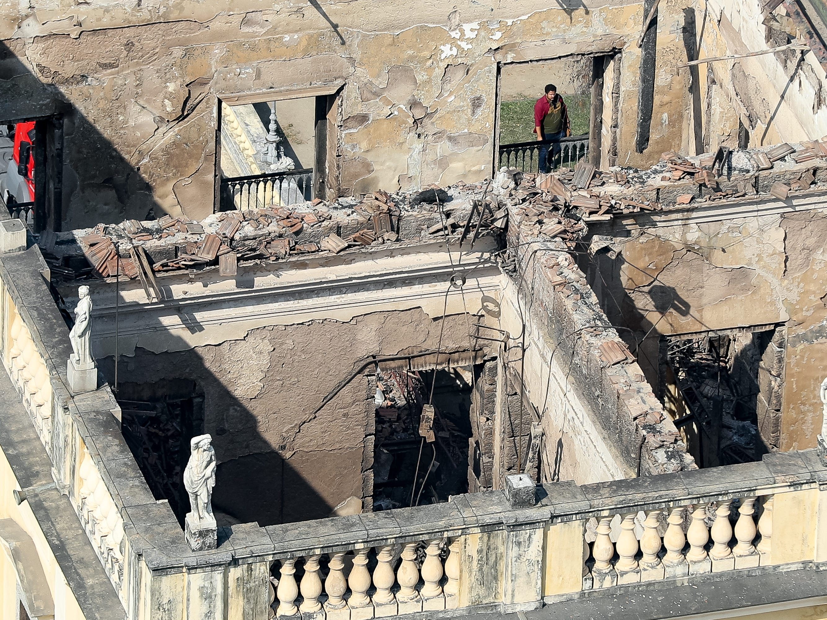 Aerial view of the damage to the National Museum of Brazil after a devastating fire on Sept. 3, 2018 in Rio de Janeiro, Brazil.