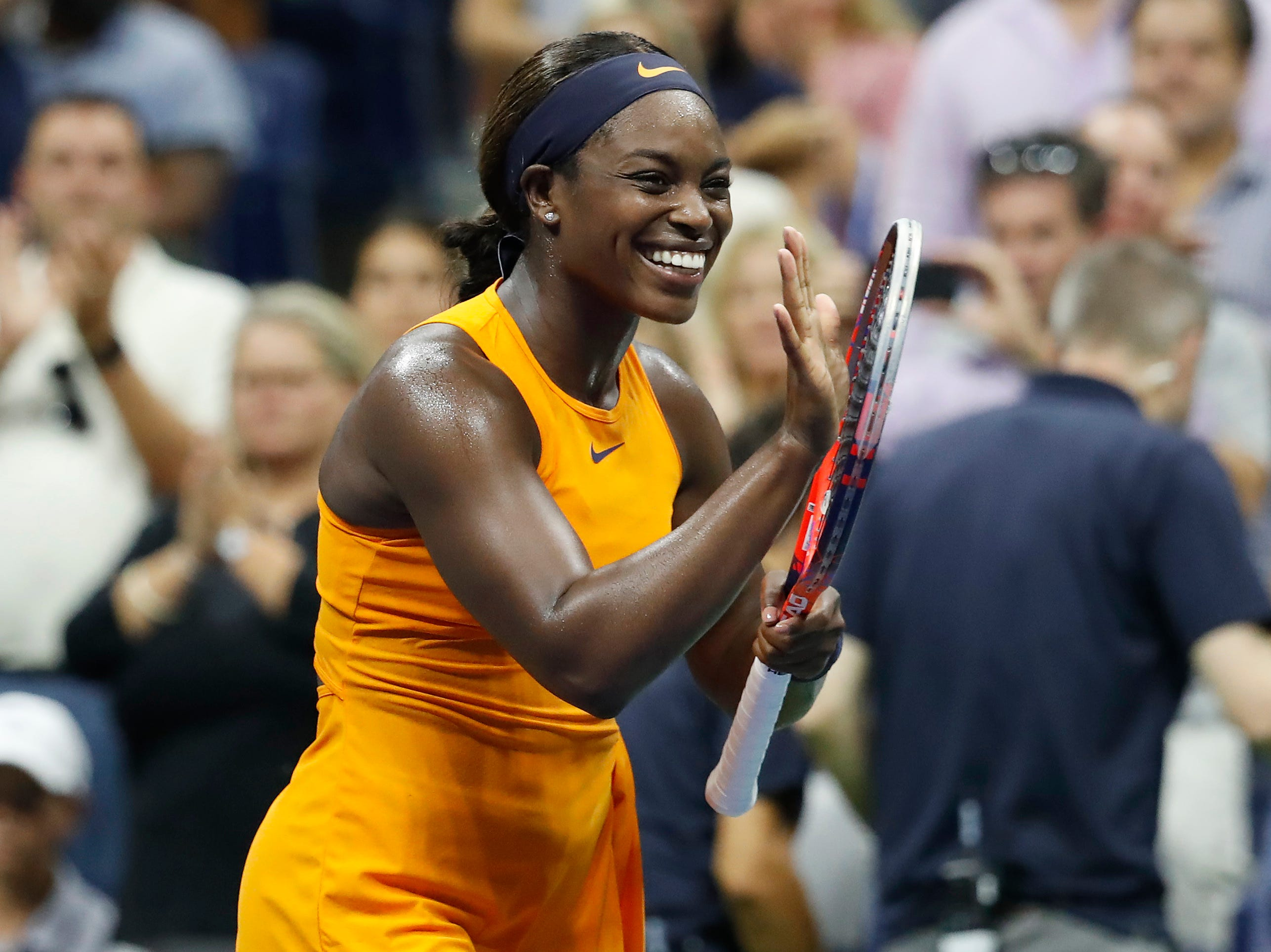 Sloane Stephens celebrates after her beating Elise Mertens in the fourth round.