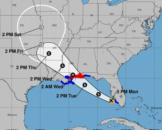 This Sept. 3, 2018, map from the National Hurricane Center showed the projected  path for Tropical Storm Gordon as of Sunday evening.