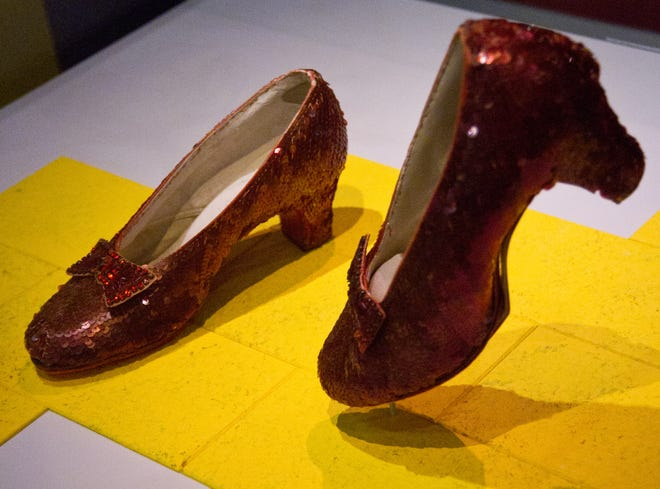 """The famous ruby slippers worn by actress Judy Garland as Dorothy in the """"Wizard of Oz"""" went on display April 11, 2012, at the Smithsonian's National Museum of American History in Washington."""