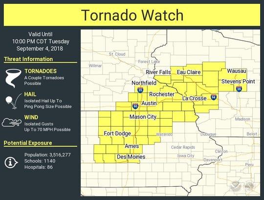 Tornado watch area