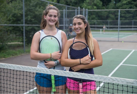 Red Bank Catholic girls tennis preview. Second singles player Sarah Fazzolari and first singles player Julie Moschella. 