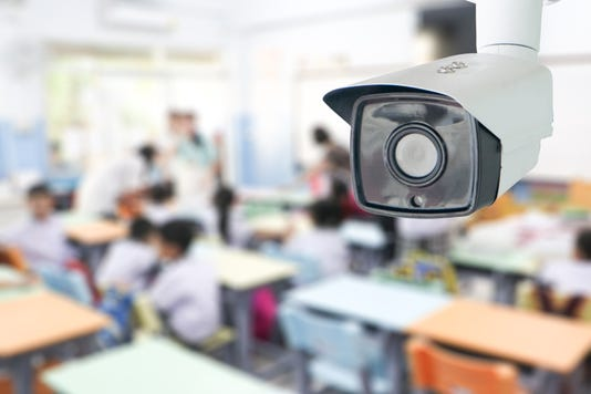 Cctv Security Monitoring Student In Classroom At School Security Camera Surveillance For Watching And Protect Group Of Children While Studying