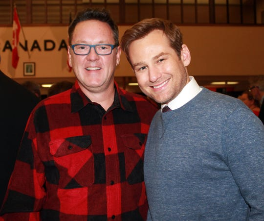 """Kevin Tuerff (left) and Chad Kimball, who portrays Tuerff and others in the Broadway musical """"Come From Away,"""" meet in Gander."""
