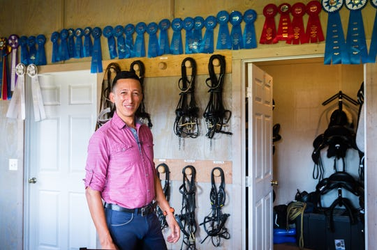 Julio Mendoza, an FEI International trainer and instructor, lives at his farm in Columbus. Mendoza will be representing Ecuador in the World Equestrian Games at the Tryon International Equestrian Center.