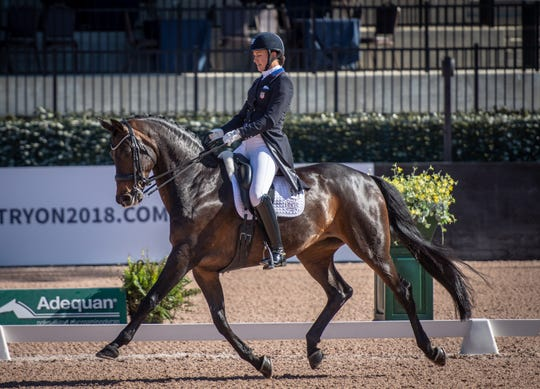 Adrienne Lyle competes in dressage at the Tryon International Equestrian Center. Dressage, the highest expression of horse training, is considered the most artistic of the equestrian sports and can be traced as far back as ancient Greece.