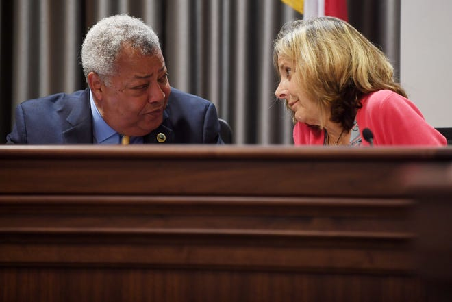 Buncombe County commissioners Al Whitesides and Ellen Frost during a Sept. 4, 2018, meeting.