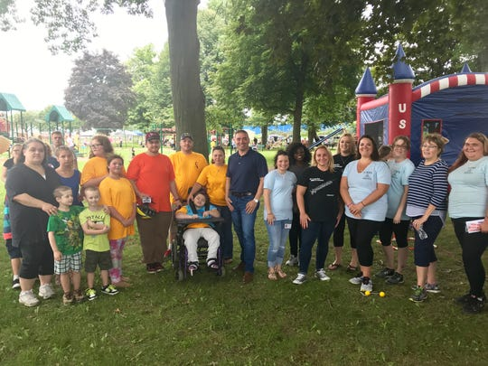 Senator Fred Akshar kicks off National Recovery Month at the Tioga County Allies in Substance Abuse Prevention Coalition's 2nd Annual Family Fun Day at Marvin Park in Owego.