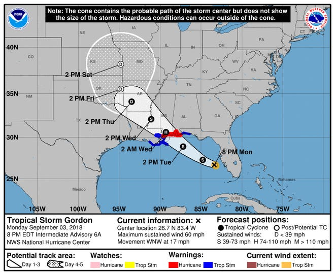 A graphic issued  by the National Hurricane Center shows the position and expected track of Tropical Storm Gordon as of 8:00 p.m. Monday.