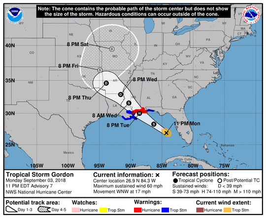 A graphic from the National Hurricane Center shows the position and forecast track of Tropical Storm Gordon at 11 p.m. on Monday, September 3
