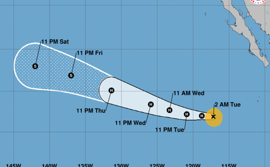 The 2 a.m. Sept. 4, 2018, weather advisory for Hurricane Olivia, just off the tip of Baja, California.