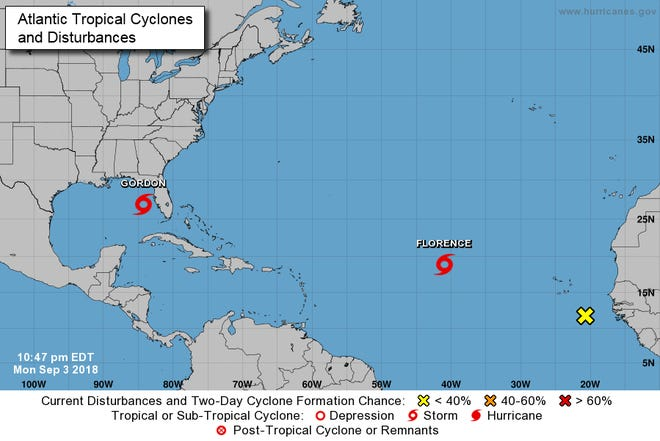A graphic from the National Hurricane Center shows an overview of active storms in the Atlantic as of 11 p.m. Monday, September 3