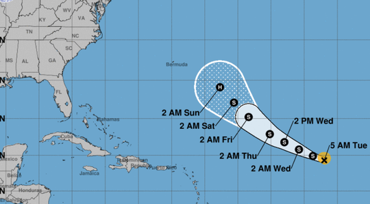 The 5 a.m. Sept. 4, 2018, weather advisory for Tropical Storm Florence.
