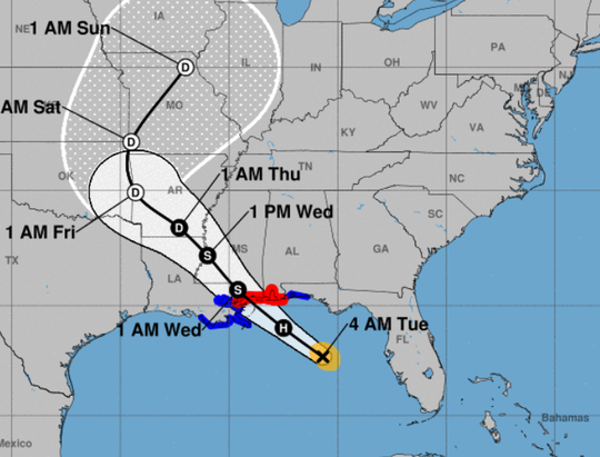 The 4 a.m. Sept. 4, 2018, weather advisory shows Tropical Storm Gordon's path toward the northern Gulf Coast.