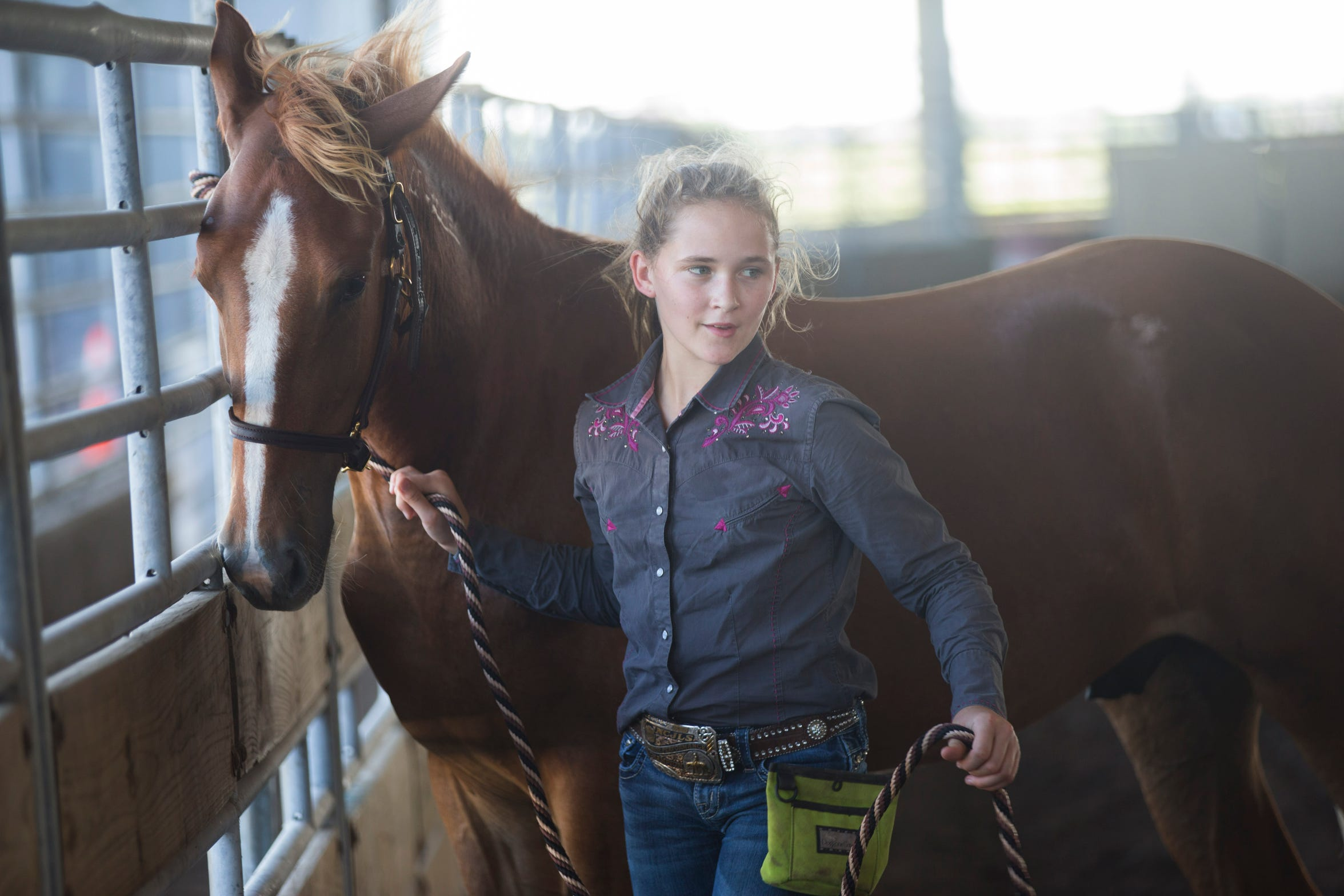 Francis Walsh, 11, works with her mustang at the Robstown fairgrounds to prepare for the junior division of the Extreme Mustang Makeover competition in Forth Worth.