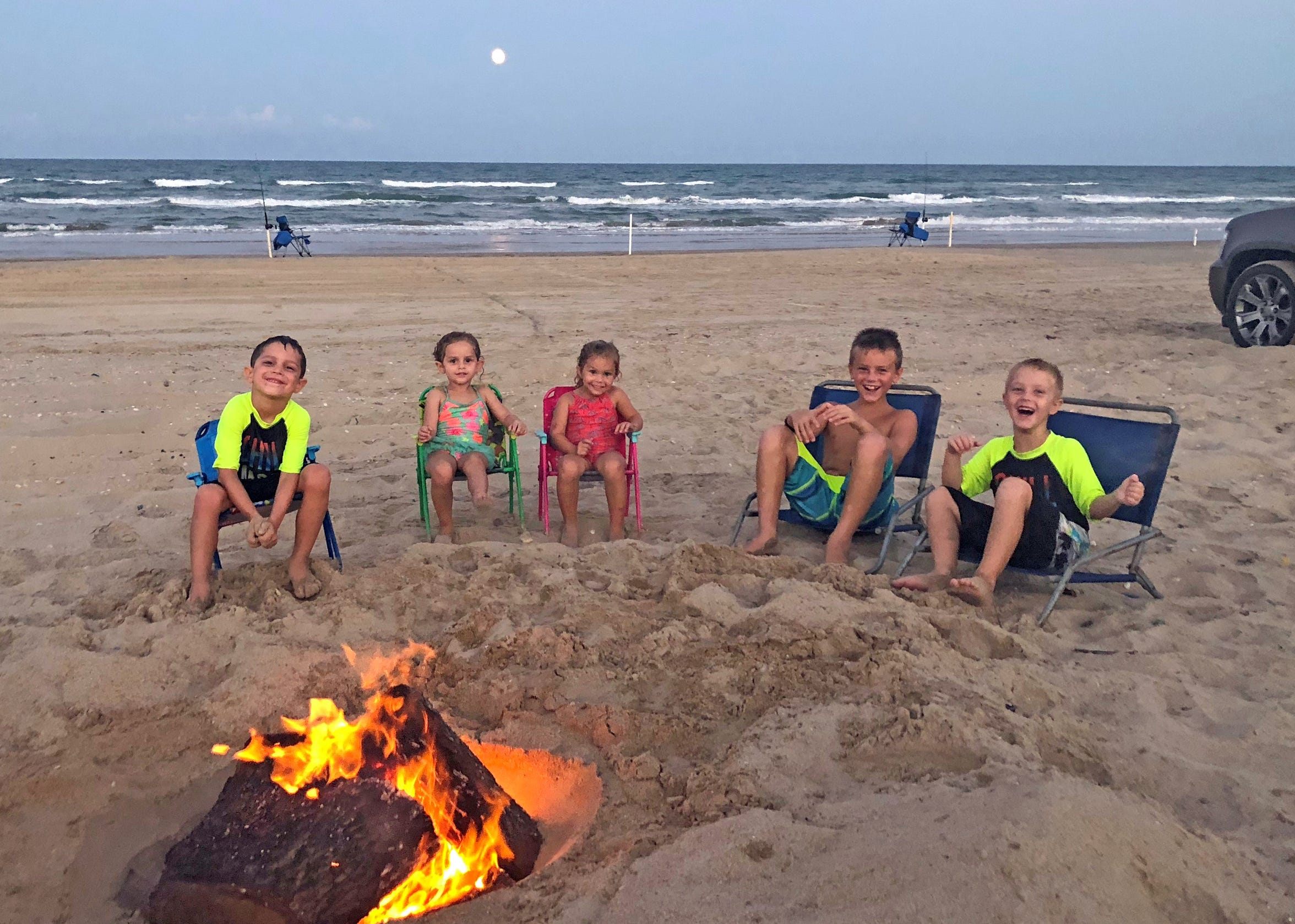 Josh and Amber Rieder of Taft have made beach camping and shark fishing a family affair. Their kids range in age from 10 to 2.