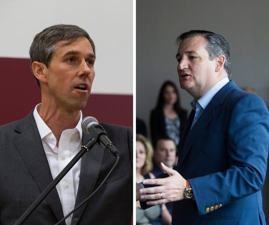 U.S. Senate candidates Beto O'Rourke (left) and Ted Cruz