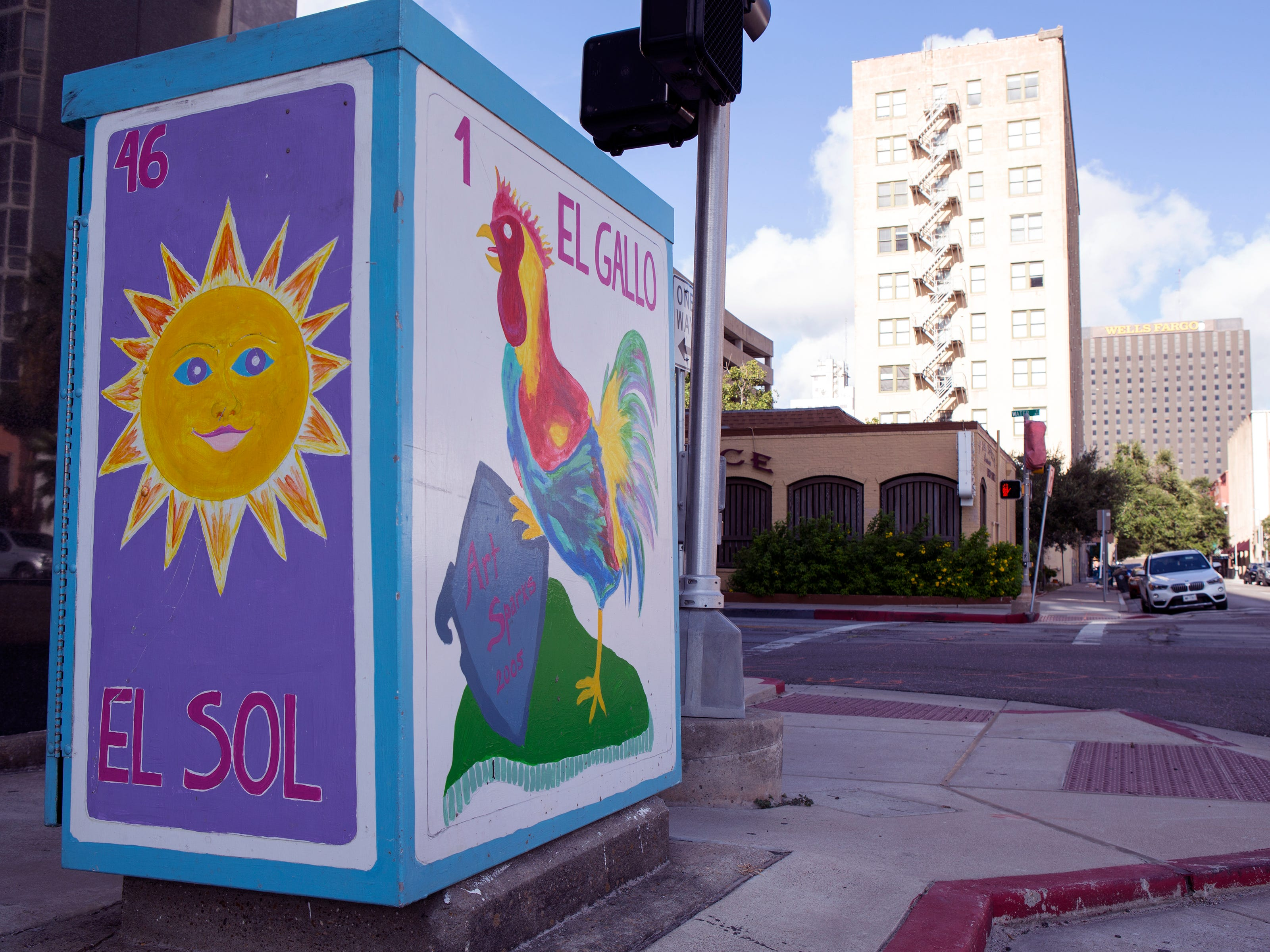 A painted utility box in downtown Corpus Christi is located near the corner of Peoples and Water streets. The Downtown Management District began the process of having the boxes painted in 1997 with a program called Art Sparks. The program allowed students interested in art to paint the boxes over the summer under the supervision of a teacher and get paid for their work. In 2004, the district began using commissioned artists.