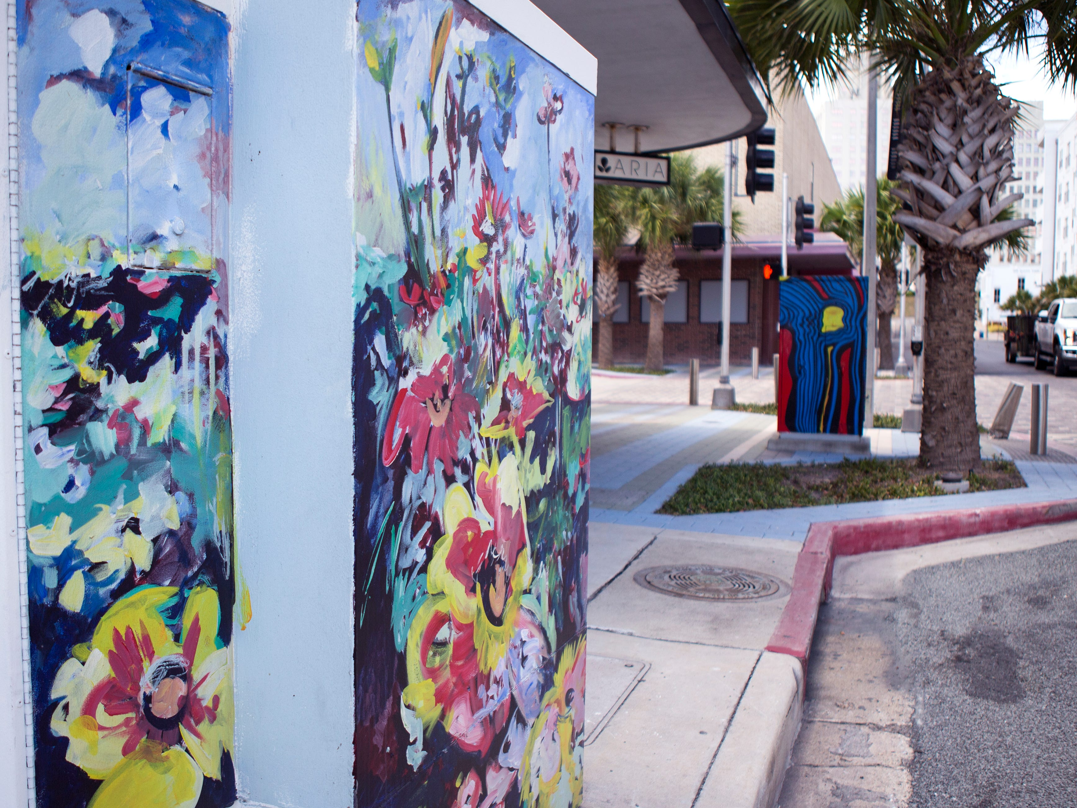 A painted utility box in downtown Corpus Christi is located near the corner of Lawrence and N. Chaparral streets. The Downtown Management District began the process of having the boxes painted in 1997 with a program called Art Sparks. The program allowed students interested in art to paint the boxes over the summer under the supervision of a teacher and get paid for their work. In 2004, the district began using commissioned artists.