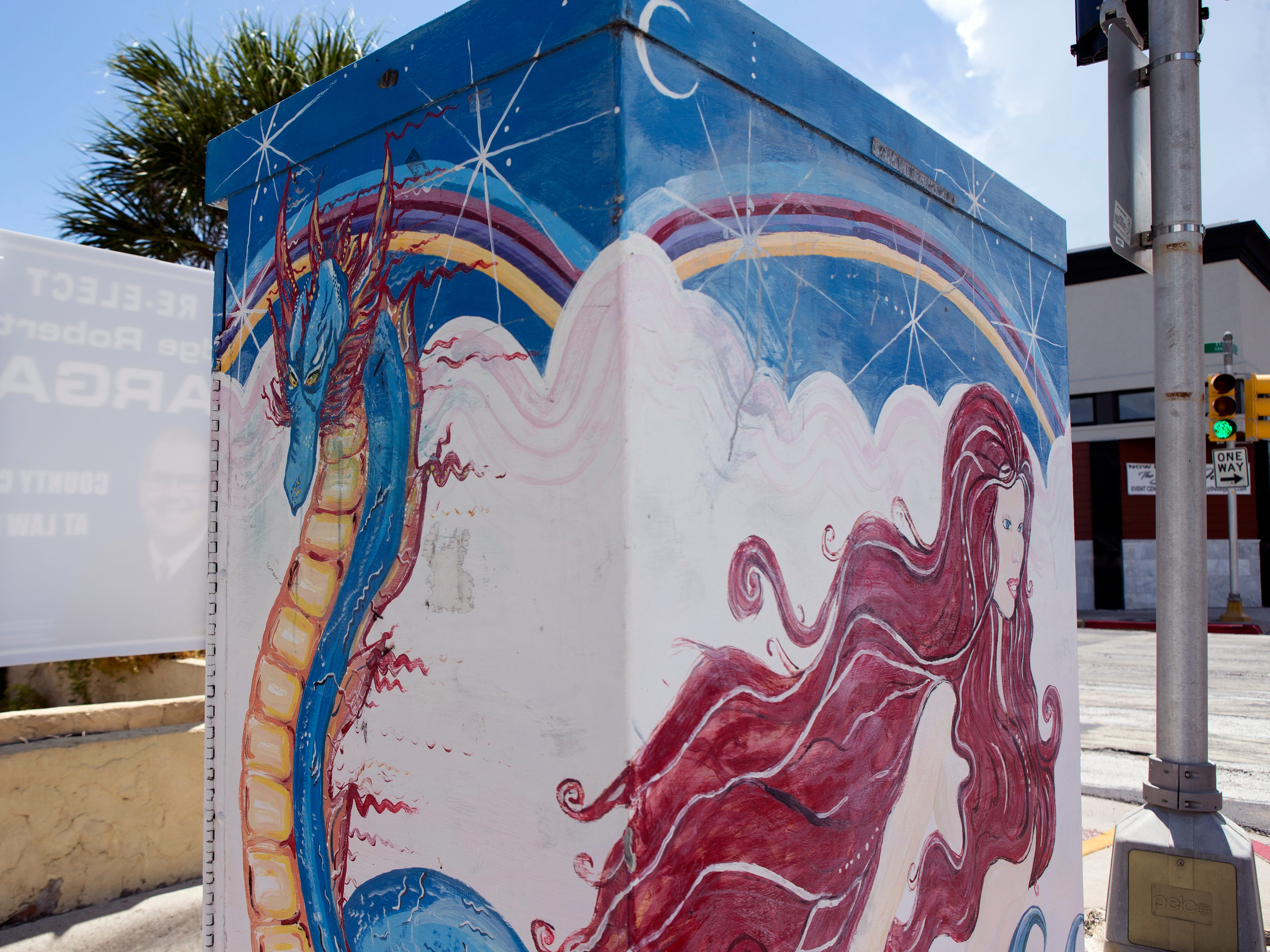 A painted utility box in downtown Corpus Christi is located near the corner of Starr and N. Mesquite streets. The Downtown Management District began the process of having the boxes painted in 1997 with a program called Art Sparks. The program allowed students interested in art to paint the boxes over the summer under the supervision of a teacher and get paid for their work. In 2004, the district began using commissioned artists.