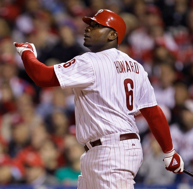 Former Phillies slugger Ryan Howard watches his three-run home run in Game 4 for the World Series in 2008. Howard announced his retirement on Tuesday.