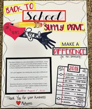 Here is the poster Makenna Buchwalter created for posting in Frankfort's Dairy Cone asking for donations of school supplies and personal hygiene items to help classmates in need.