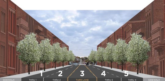 "How Liberty Street would look between Central Parkway and Main Street under a proposed ""traffic calming"" project, which would narrow the roadway by widening sidewalks and add trees to the street."